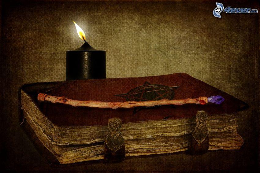 stará kniha, sviečka