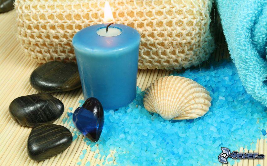 sviečka, kamene, mušľa, soľ do kúpeľa, uterák