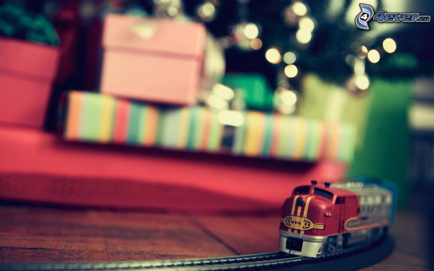 vlak, darčeky