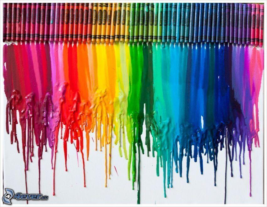 voskovky, obraz, dúhové farby