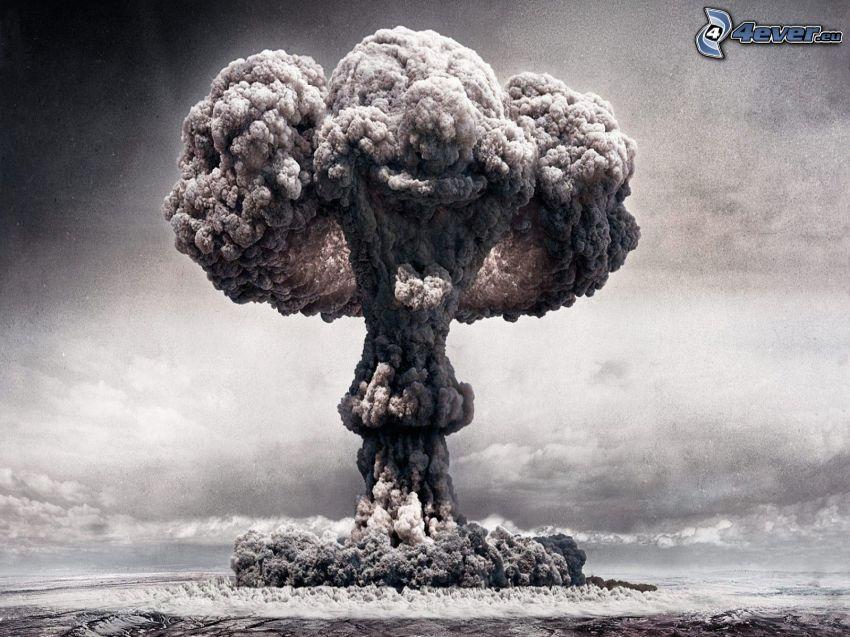 výbuch, dym, čiernobiele, šašo