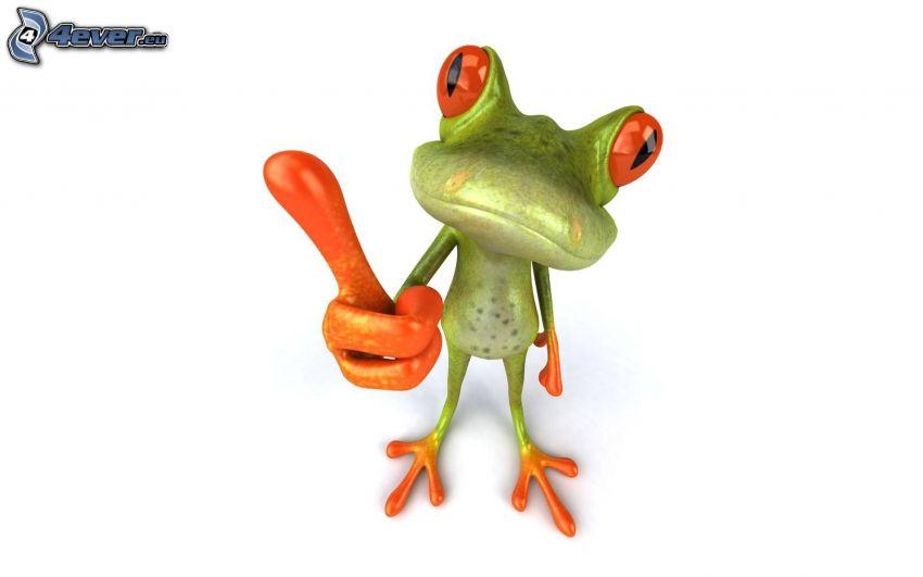 žaba, palec hore