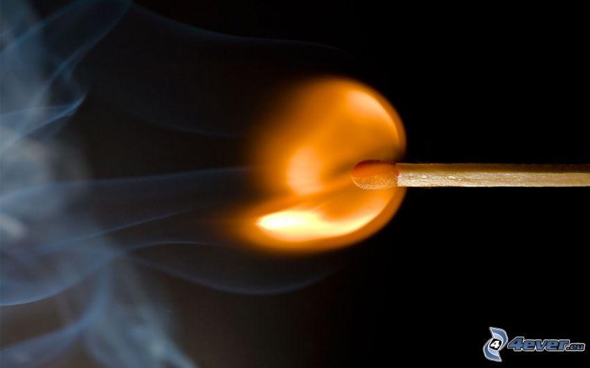 zápalka, oheň, dym