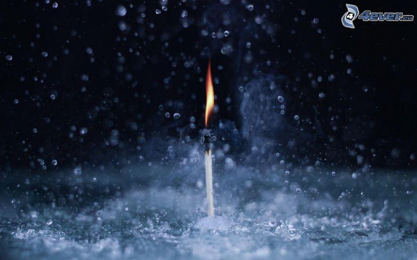 zápalka, voda, dážď