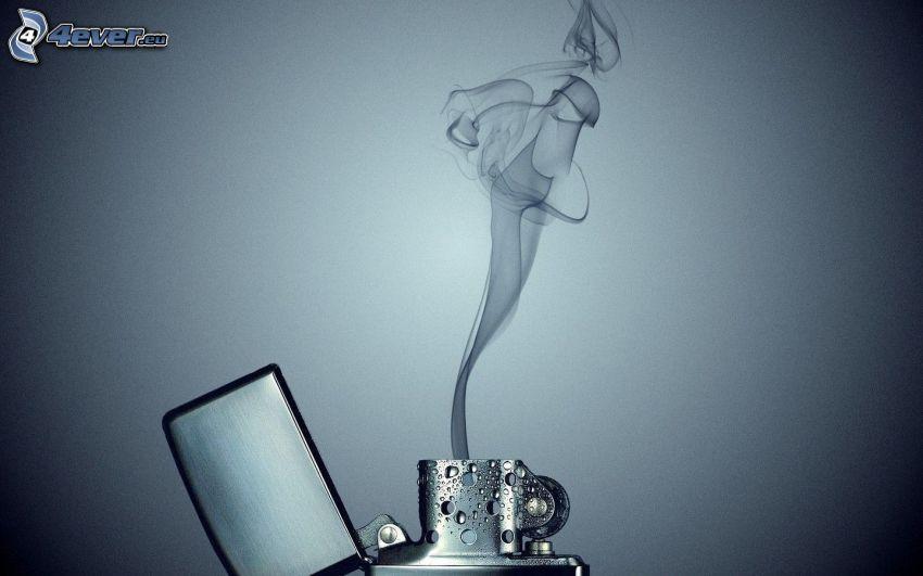 zapaľovač, dym