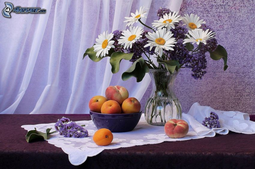zátišie, kytica, váza, broskyne