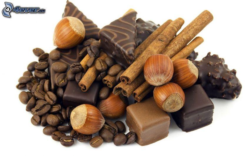 bonbóny, lieskové orechy, škorica, kávové zrná