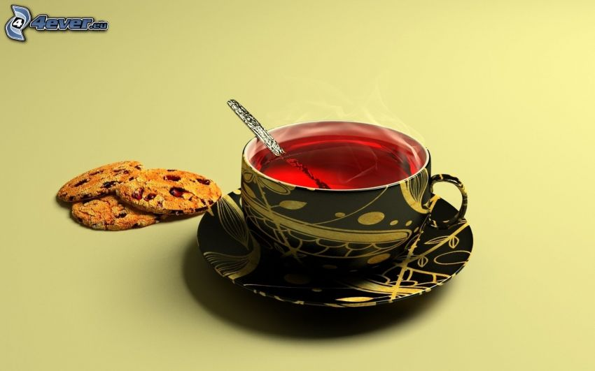 čaj, šálka, lyžička, keksíky