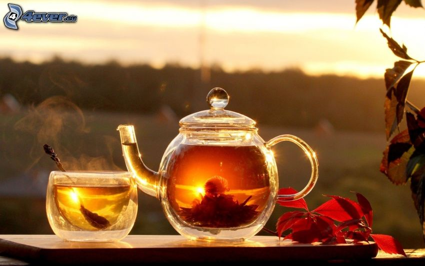 čajník, šálka čaju, kvitnúci čaj