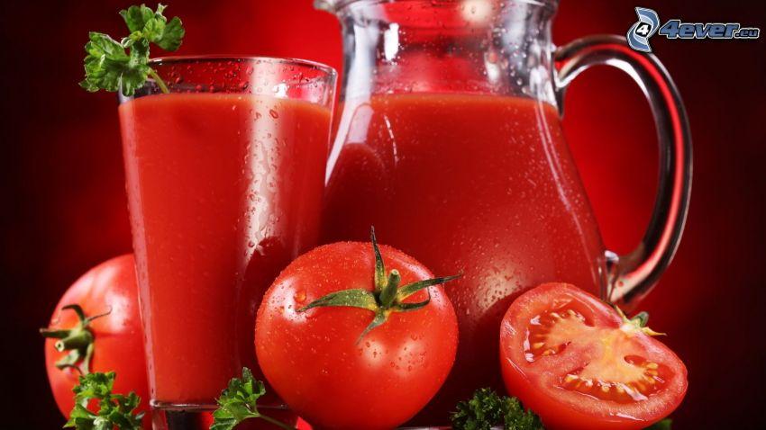čerstvý džús, paradajky
