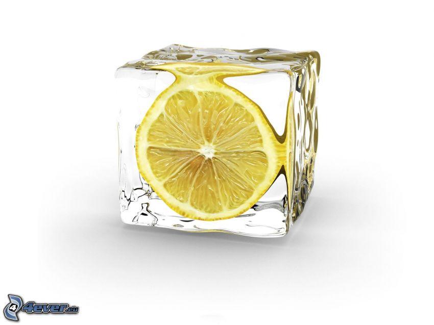 citrón, kocka ľadu