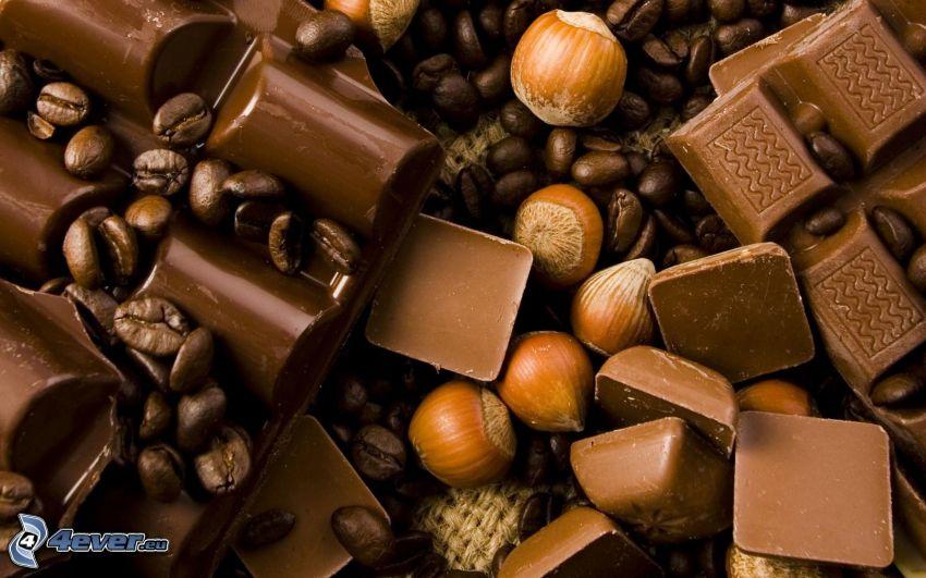 čokoláda, oriešky, kávové zrná