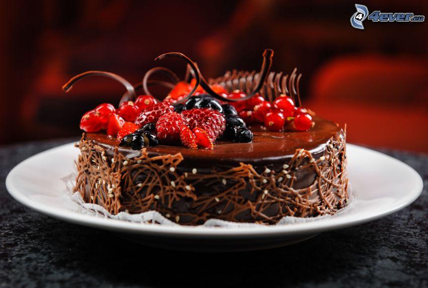 čokoládová torta, lesné plody
