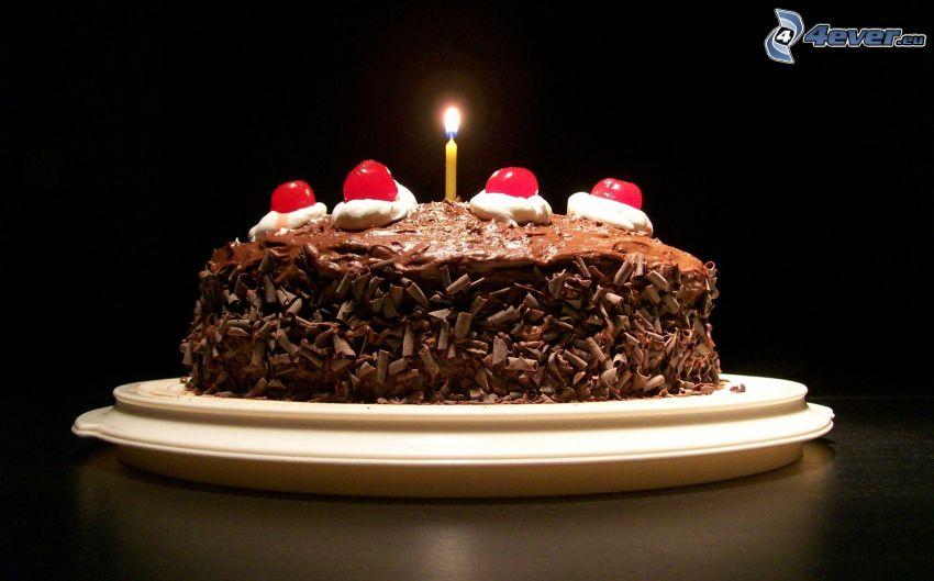 čokoládová torta, sviečka