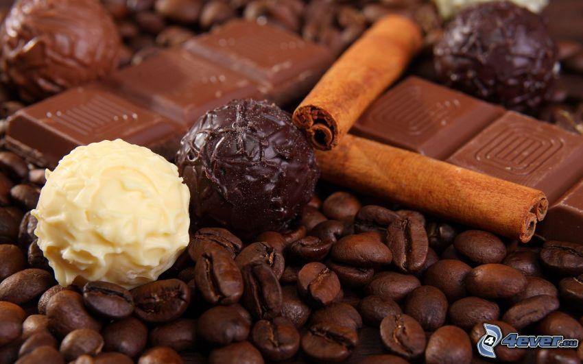 čokoládové pralinky, čokoláda, guličky, kávové zrná