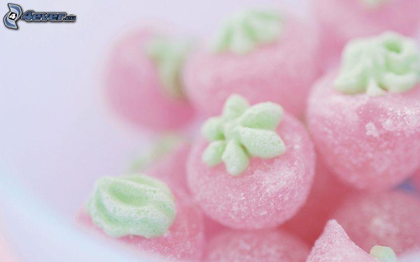 cukríky, jahody