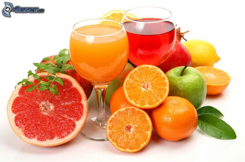 džúsy, poháre, ovocie, grepfruit, pomaranče, jablko, granátové jablko, citrón