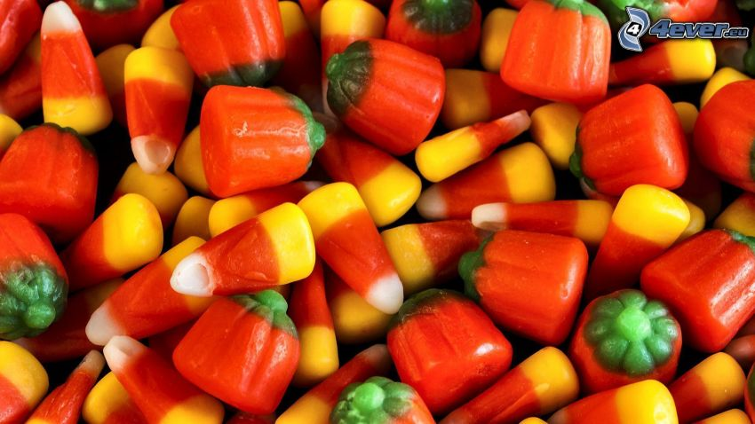 farebné cukríky, tekvice