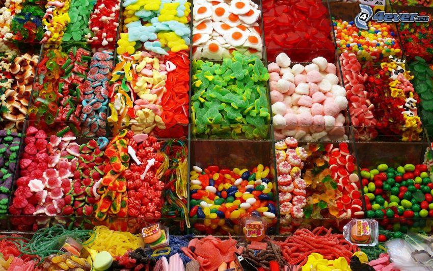 farebné cukríky, želé