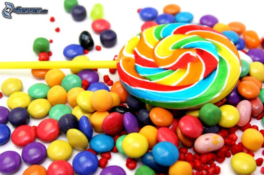 farebné lízatko, lentilky, cukríky
