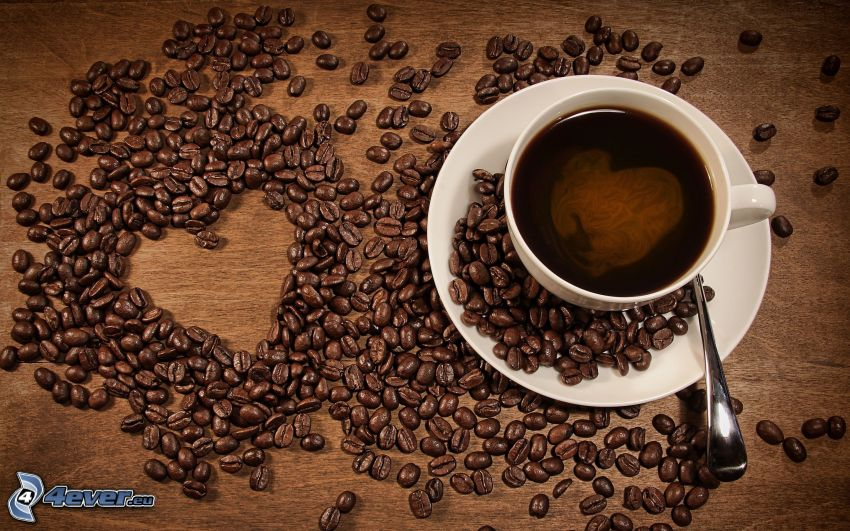 I love coffee, srdiečka, kávové zrná