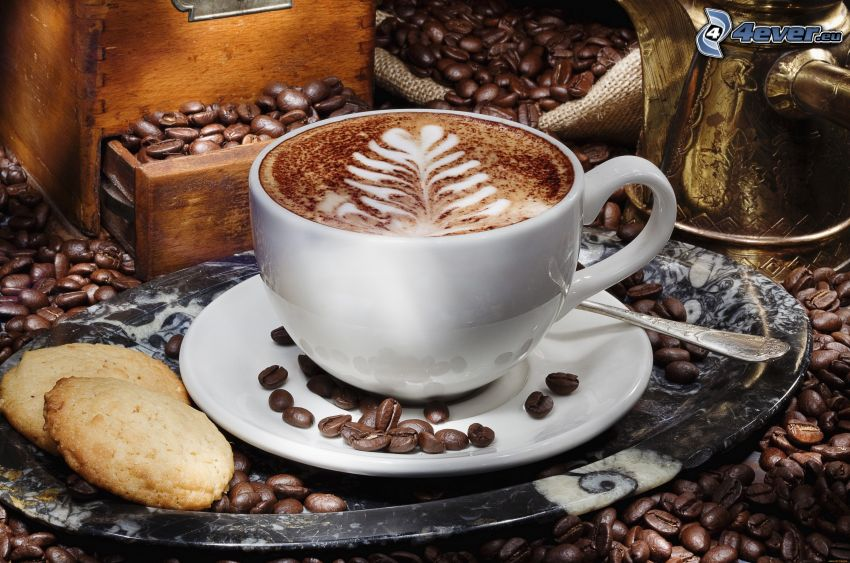 kapučíno, pena, lyžička, kávové zrná