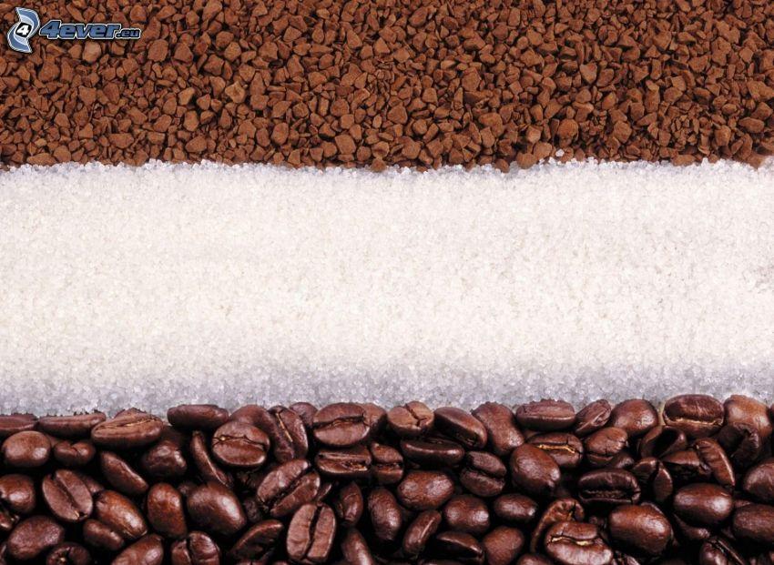 káva, cukor, kávové zrná