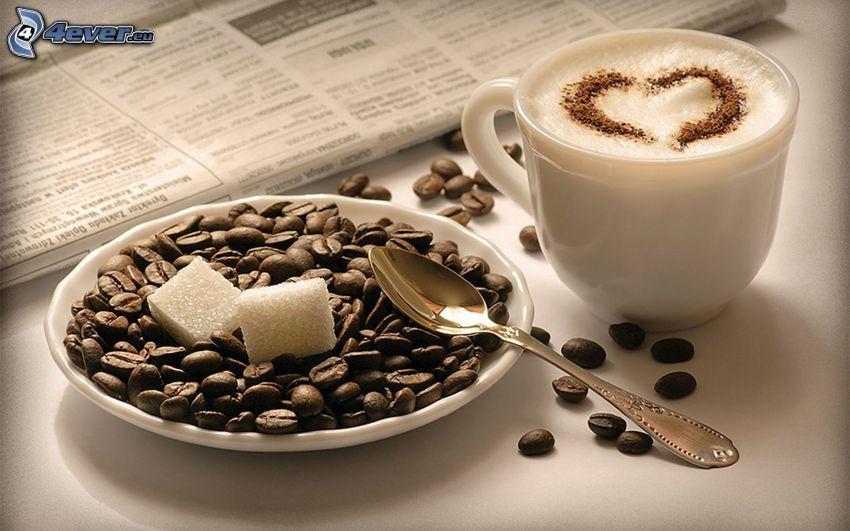 káva, kávové zrná, srdiečko, latte art