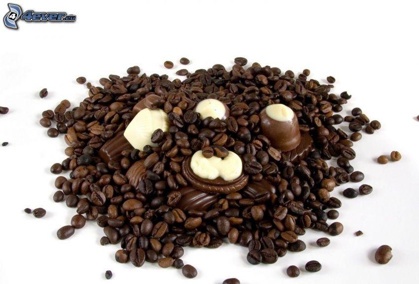 kávové zrná, bonbóny