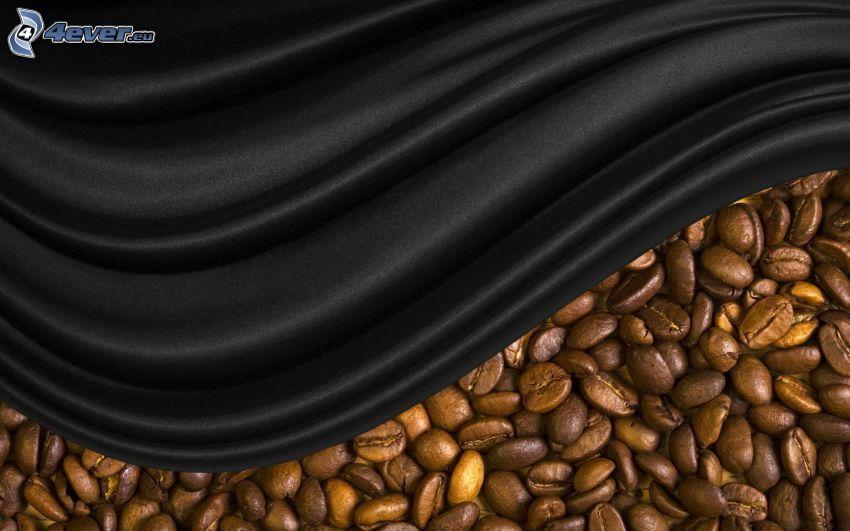 kávové zrná, hodváb