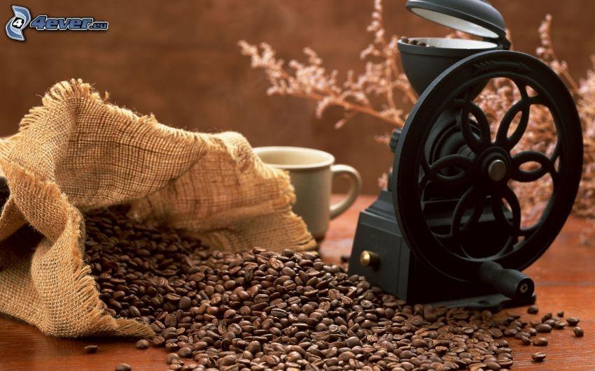 kávové zrná, mlynček