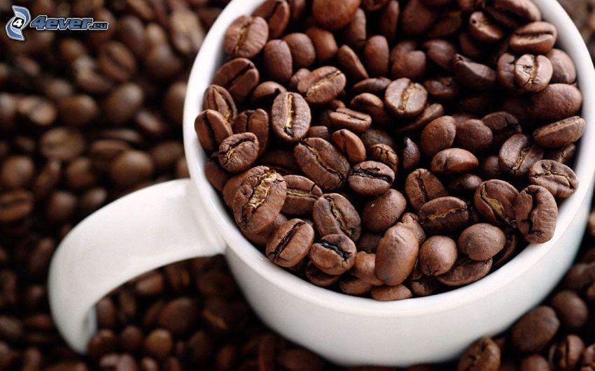 kávové zrná, šálka