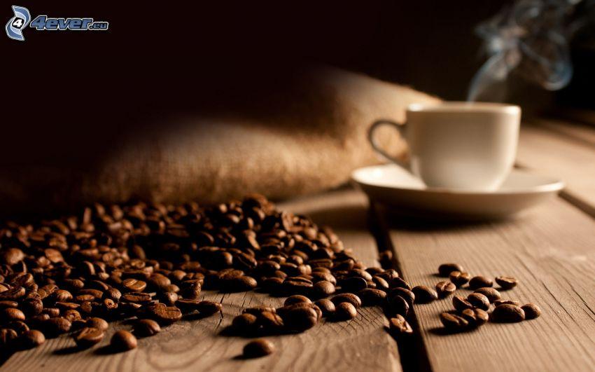 kávové zrná, šálka kávy
