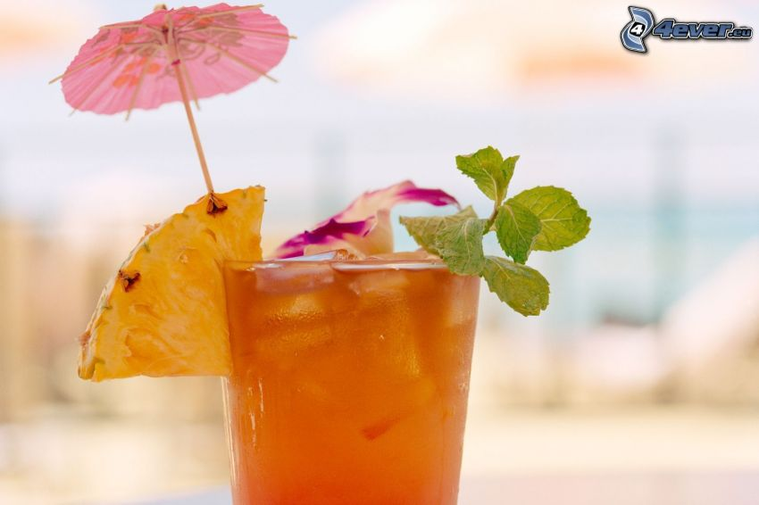 kokteil, mäta, ananás, dáždnik