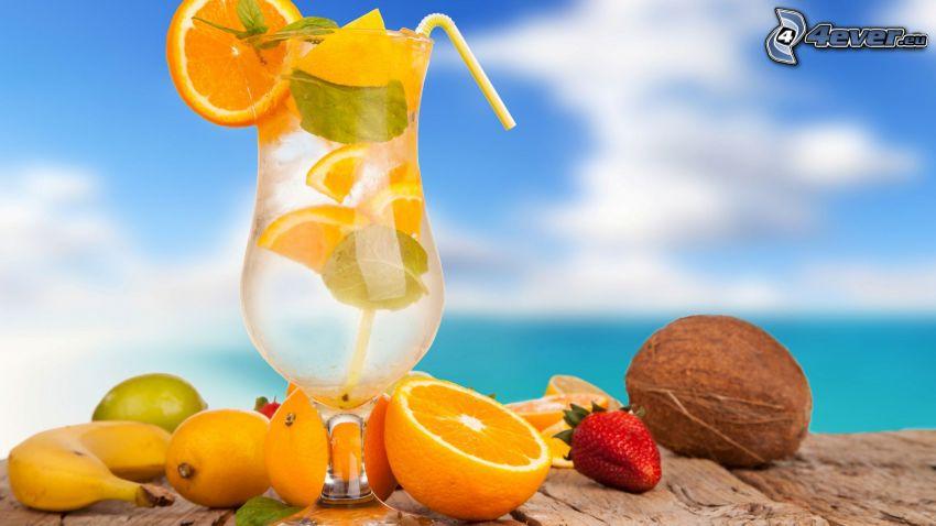 kokteil, pláž, ovocie, banán, pomaranč, jahoda, kokosový orech, citrón, limetka