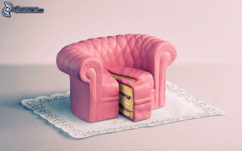 kreslo, torta