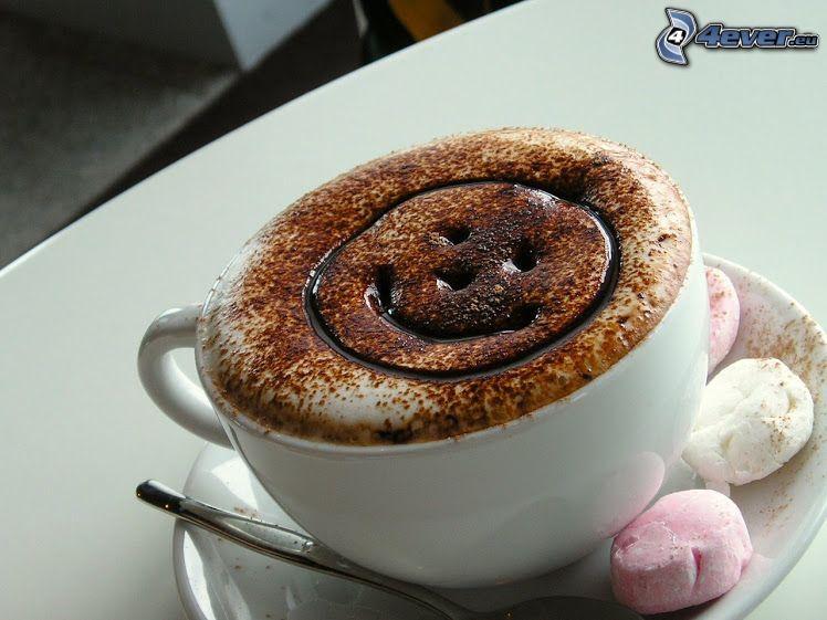 latte art, smajlík, šálka, kapučíno