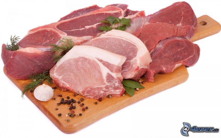 mäso, koreniny, cibuľa, doska