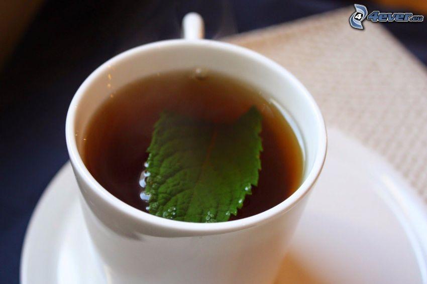 mätový čaj, šálka