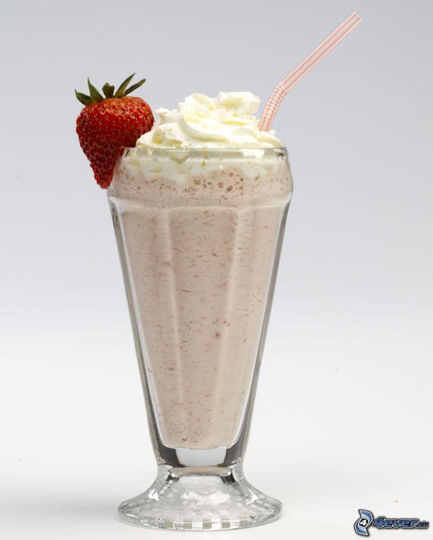 milk shake, jahoda, šľahačka, slamka