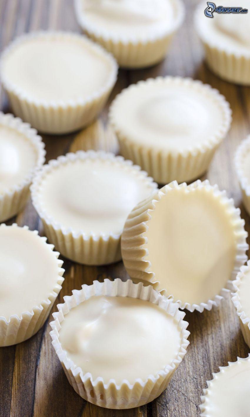 muffiny, biela čokoláda