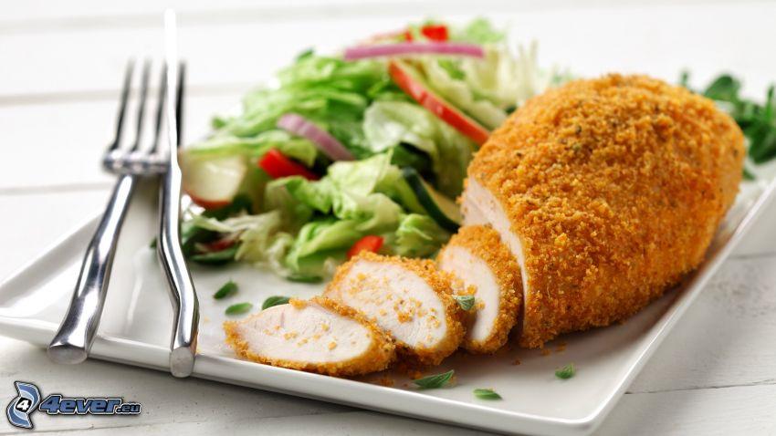 obed, mäso, šalát, príbor