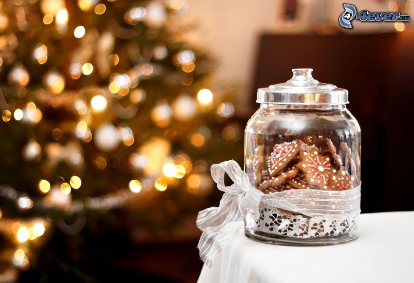 perníky, vianočný stromček, pohár