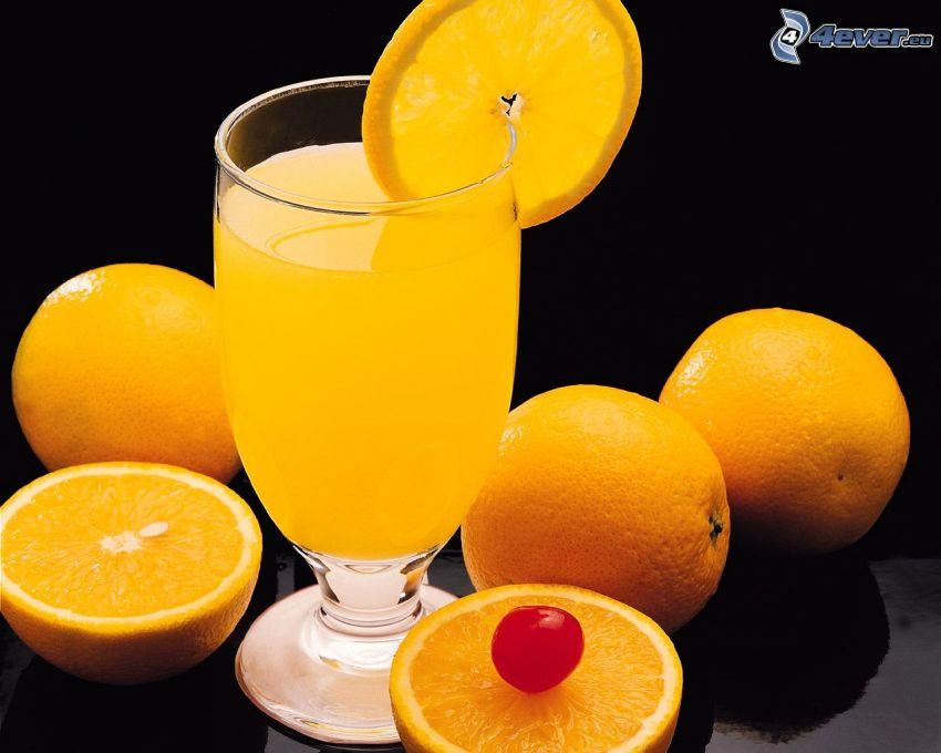 pomarančový džús, pomaranče