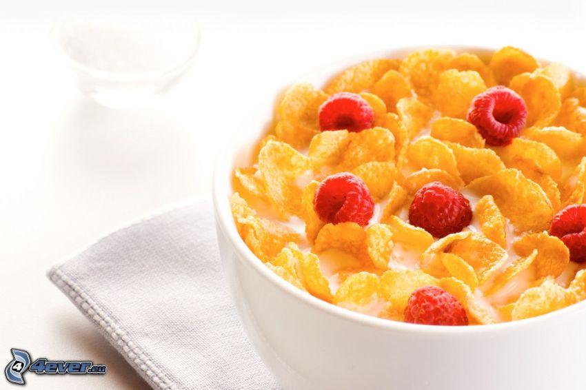 raňajky, corn flakes, maliny