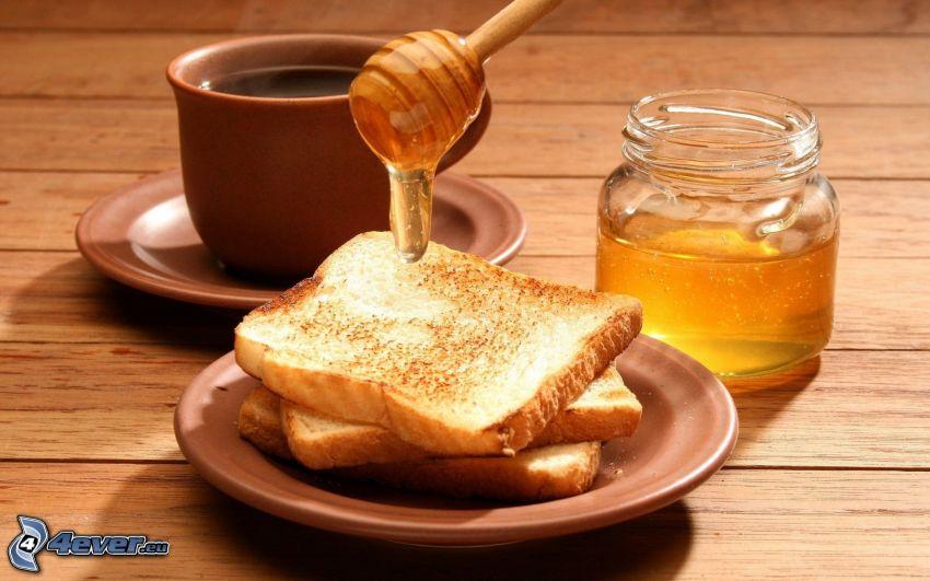 raňajky, toast, med, šálka čaju