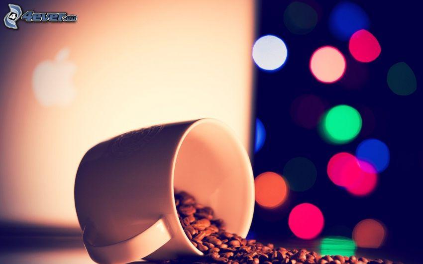 šálka, káva, farebné krúžky