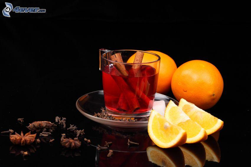šálka čaju, pomaranče