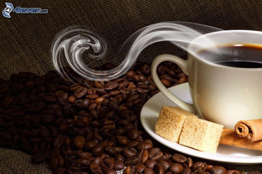 šálka kávy, kávové zrná, para, hnedý cukor, škorica