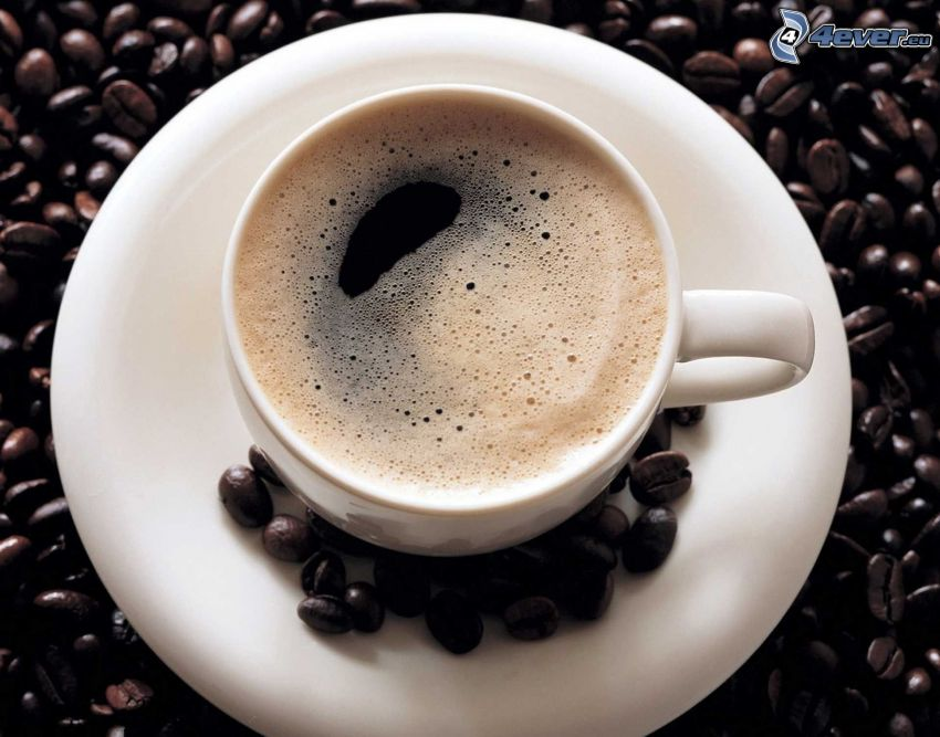šálka kávy, kávové zrná